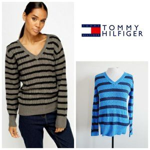 TOMMY HILFIGER Cotton Striped Cable Knit Sweater